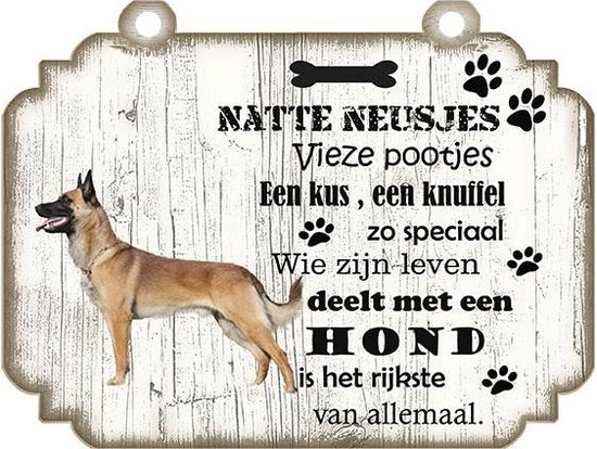 Spreukenbordje Hond: Mechelse Herder