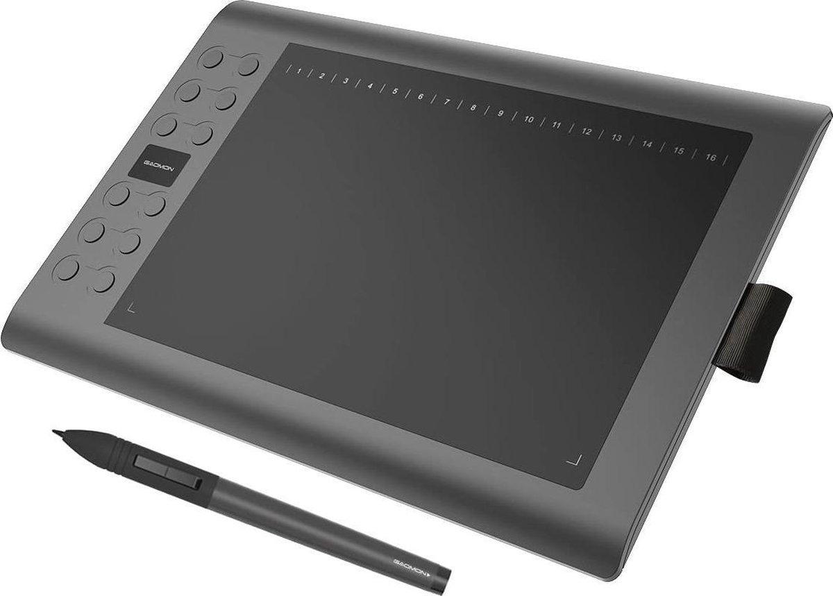 GAOMON M106K - 10 x 6 inch professioneel grafisch tablet met 12+16 programmerende toetsen en draadloze pen