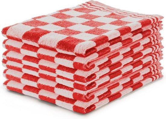 Keukendoekset Blok Rood - 50x50 - Set van 6 - Geblokt - Blokdoeken - 100% katoen - Horeca Keukendoeken