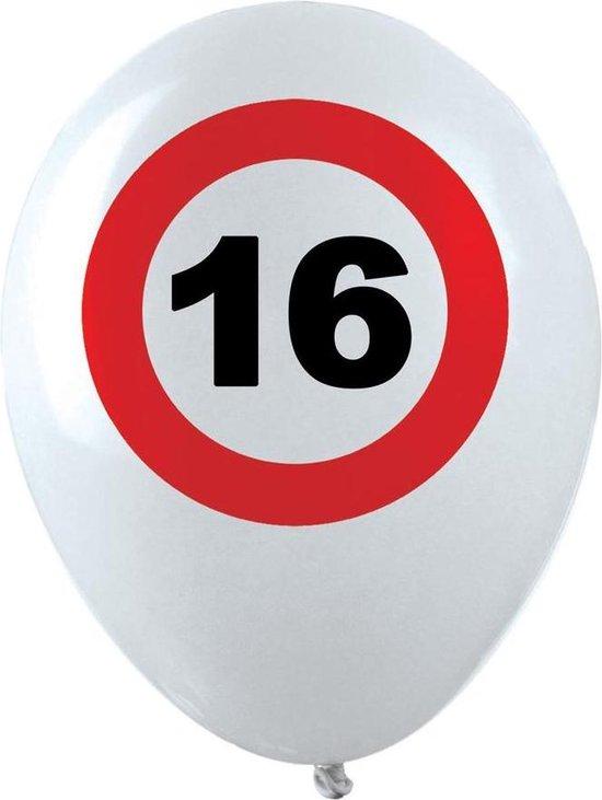 10x stuks Ballonnen 16 jaar verkeersbord versiering, Verjaardag