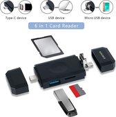 Sounix 6 ports multifuntionele kaart lezer Micro SD , SD ,USB-C,USB, Mirco USB-OTG-Kaartcompatibiliteit tot 2TB