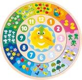 New Classic Toys Houten Leerklok - Leer de tijd aan de hand van de kleurrijke afbeeldingen