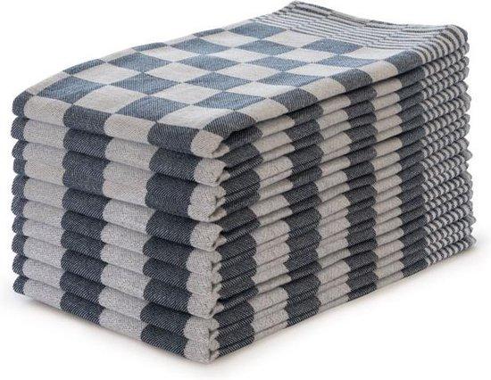 Theedoekenset Blok Blauw - 65x65 - Set van 10 - Geblokt - Blokdoeken - 100% katoen - Horeca Theedoeken