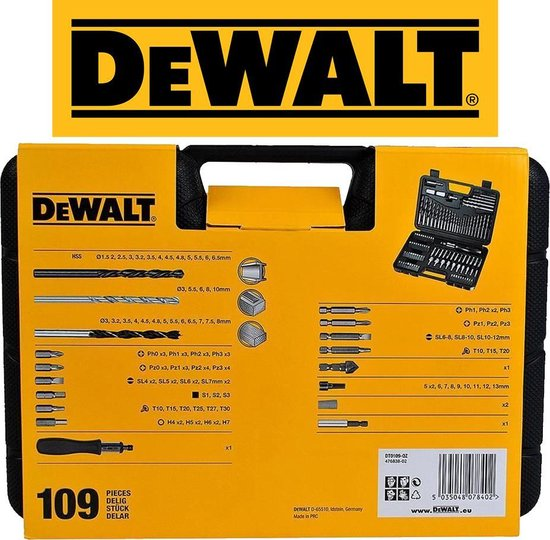 DeWalt Pro Schroef & Boorset   109 Delig