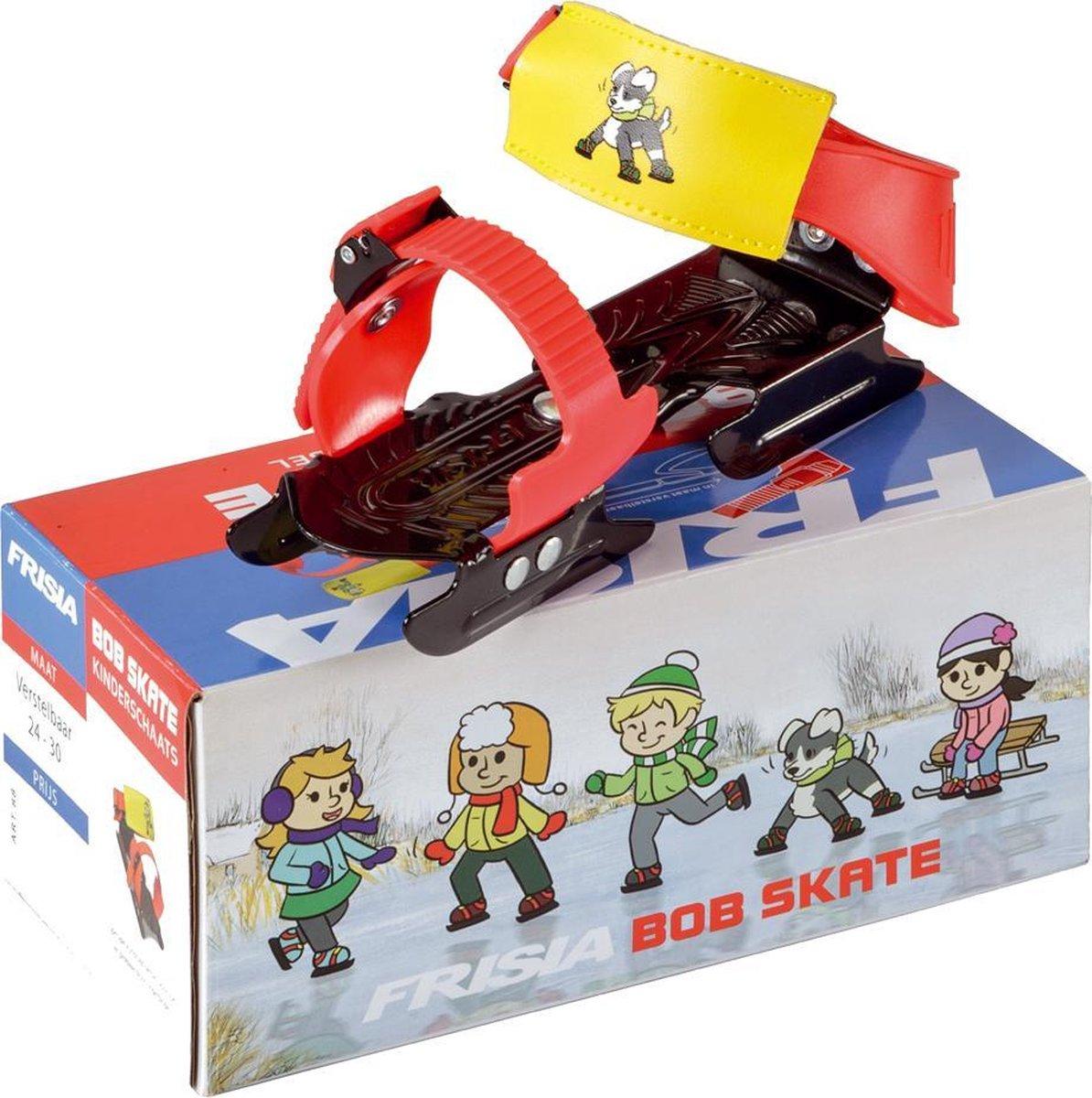 Zandstra | Bob skate deluxe - Glij ijzers - Verstelbaar - maat 24-30 - Zwart/Rood/Geel.
