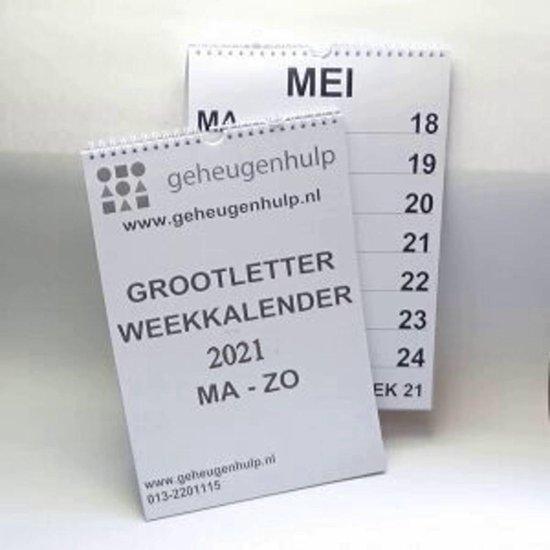 Afbeelding van GROOT LETTER weekkalender 2021  A4 formaat.