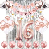 Sweet 16 - Ballonnen - Feest - Verjaardag - Rose - Zilver - Hartjes - Slinger - Pakket