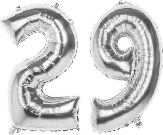29 Jaar Folie Ballonnen Zilver- Happy Birthday - Foil Balloon - Versiering - Verjaardag - Man / Vrouw - Feest - Inclusief Opblaas Stokje & Clip - XXL - 115 cm