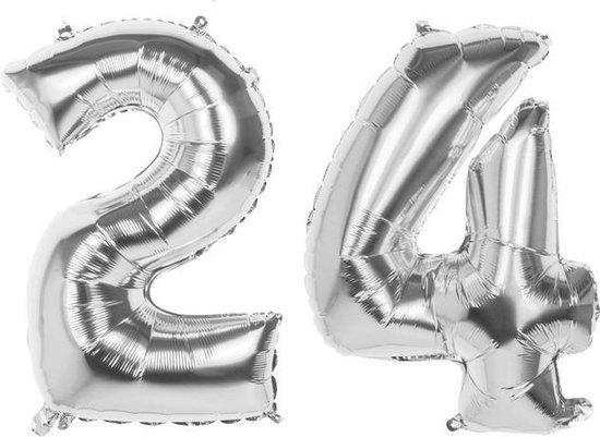 24 Jaar Folie Ballonnen Zilver- Happy Birthday - Foil Balloon - Versiering - Verjaardag - Man / Vrouw - Feest - Inclusief Opblaas Stokje & Clip - XXL - 115 cm