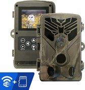 Dieux® Wildcamera - Wildcamera met nachtzicht - Wildcamera met Wifi - Wildcamera voor buiten - Wildlife camera - Jachtcamera - Observatiecamera - Beveiligingscamera buiten - Inclusief 32GB Micro SD Kaart - 20 MP - Full HD