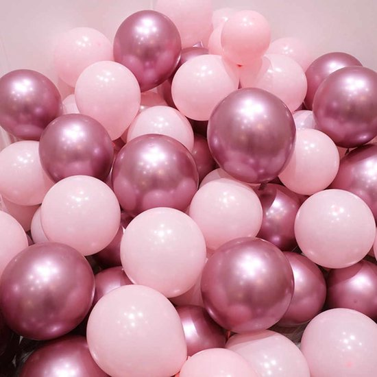 Nedville Ballonnen - 20 stuks avondzon pakket- Luxe rose Ballonnen - Chrome Rosagold en pastel rose - Helium Ballonnenset - Babyshower Party - Wedding Bruiloft Valentijn