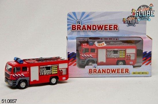 Kids Globe Metalen brandweerauto met licht en geluid - Speelgoedvoertuig: 13 cm