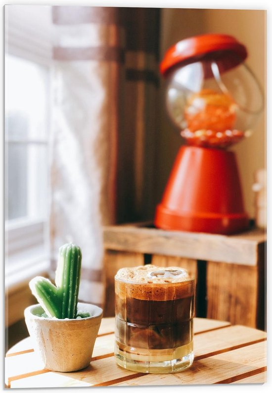 Plexiglas - Drankje + Cactus op Tafel  - 40x60cm Foto op Plexiglas (Met Ophangsysteem)