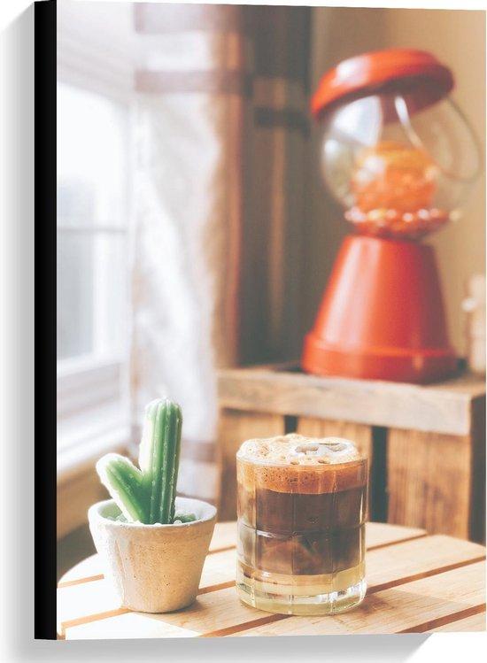 Canvas  - Drankje + Cactus op Tafel  - 40x60cm Foto op Canvas Schilderij (Wanddecoratie op Canvas)