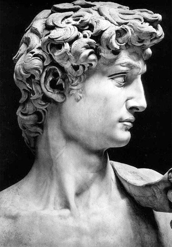 David van Michelangelo Buonarroti kunst canvas Poster 100x70 (Excl rand gemeten) ''Mirror-Edge'' rand voor gekleurde zijkant