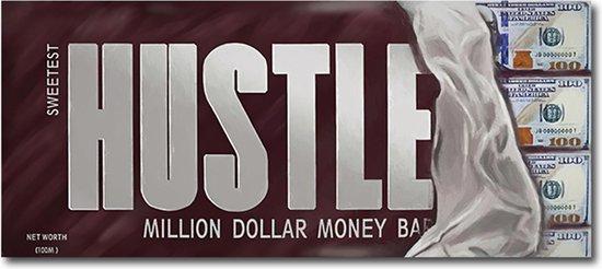 Hustle chocolade reep / geld / money / business canvas poster 100x50 (Excl rand gemeten) ''Mirror-Edge'' rand voor gekleurde zijkant