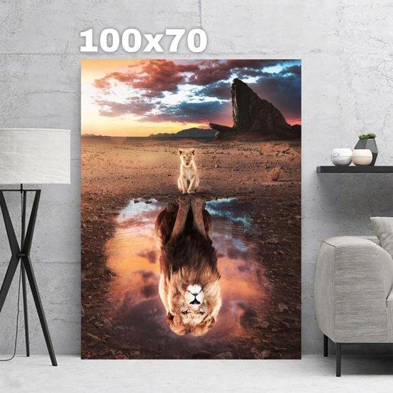 Leeuw / tijger reflectie toekomst / Lion King canvas poster 100x70 (Excl rand gemeten) ''Mirror-Edge'' rand voor gekleurde zijkant