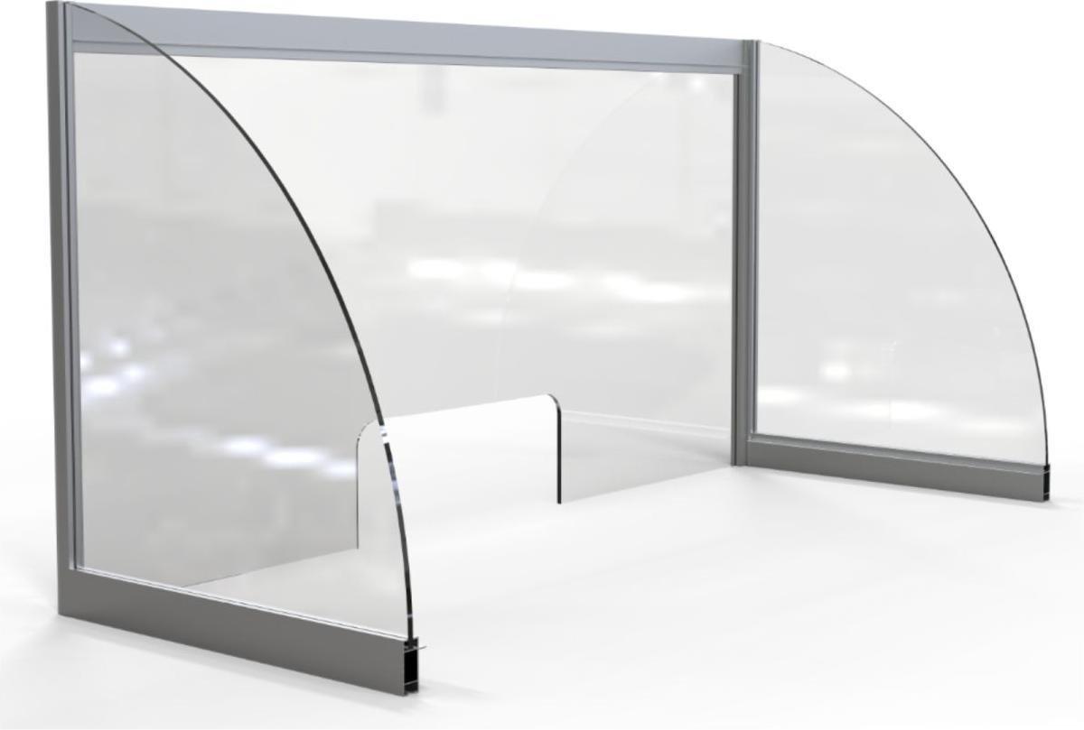 Hygienescherm OPUS 2 Balie Breedte 1000 x Hoogte 500mm - voor sociale afstand tegen luchtverontreinigde stoffen - gemaakt van stevig acryl - 5mm dikte - lichtgewicht aluminium frame - stabiele constructie - eenvoudig te monteren - transactievenster