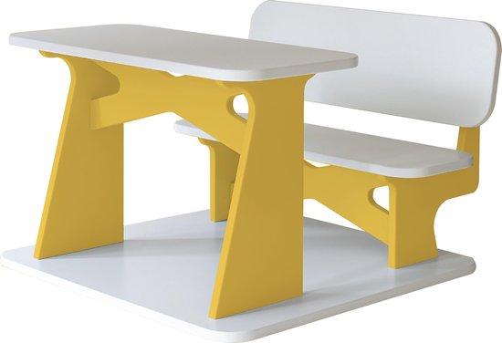 Dipperdee kinderbureau wit geel - hout - 65cm x 60cm x 41cm