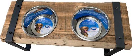 BOSTIJL - Honden voerbak - industrieel - staal - grenen - groot