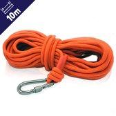 Magfishion® Vismagneet Touw - 10 Meter - Karabijnhaak - 500 KG Trekkracht - Dik Touw met Musketonhaak - Oranje
