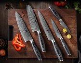 Bol.com-Luxe en Professionele 5-delige Keukenmessen-set van Damascus Staal (67 lagen VG10)-aanbieding