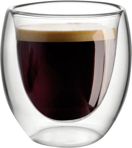 Aulica - Espresso Kopjes - Dubbelwandige Koffieglazen - 80 ML - Set van 4