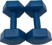 2x Dumbbells - 4 kg - Dumbbell Set - Blauw