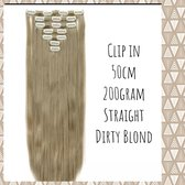 Clip In Extensions DUBBELSET 200Gr 50cm Dirty Blond