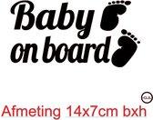 autosticker Baby on board  afmeting 14 x 7 cm