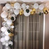 Ballonnenboog - DIY - Wit - Goud - Papieren Confetti - Palmbladeren - incl. ophanghaakjes - Feestversiering