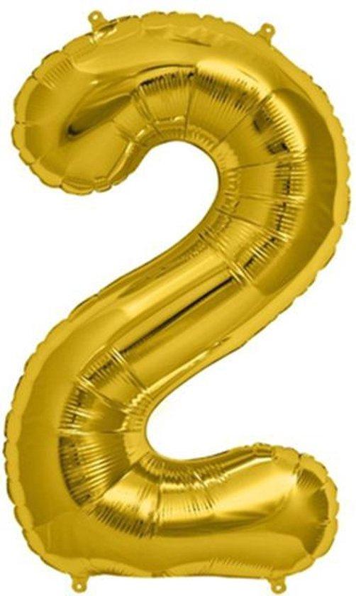Helium ballon - Cijfer ballon - Nummer 2 - 2 jaar - Verjaardag - Goud - Gouden ballon -