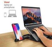 Ergonomische Laptop Standaard - Opvouwbaar - Verstelbaar – Inclusief Telefoonhouder - Zwart