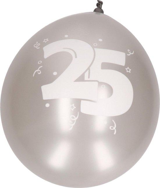 12x Ballonnen zilver 25 jaar thema