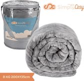 Verzwaringsdeken Set Medium 8 KG Weighted Blanket Beter Slapen - Verzwaard Deken - Slaap - Wasbare Hoes -135x200cm- Donkergrijs - Zomer/Winter Zijde