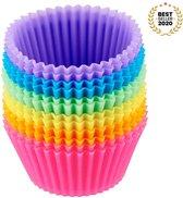 FLOOQ - Gekleurde - Siliconen - Cupcake vorm - Muffin - Bakvorm - Taart - Gebak - Koekjes - Cake - Chocolade - Herbruikbaar - BPA vrij - Rond -  12 stuks