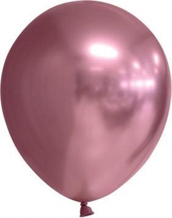 15 x Ballonnen Chrome Roze | Helium Ballon Goud- 23 cm