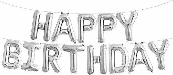 Happy Birthday folieballonnen slinger Zilver 340 x 35 cm - verjaardagsfeest versiering