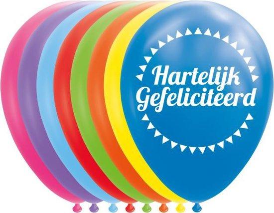 Hartelijk gefeliciteerd Ballonnen 8 stuks, Verjaardag