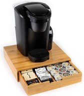 Premium Bamboe Koffie Capsulehouder -5 rijen- Koffie CupHouder - Koffiepads - Koffiezetapparaat stand met Lade- Koffiecups houder – Theedoos - Dolce Gusto - Nespresso- Vertuo - L'Or - 35 Capsules Organizer