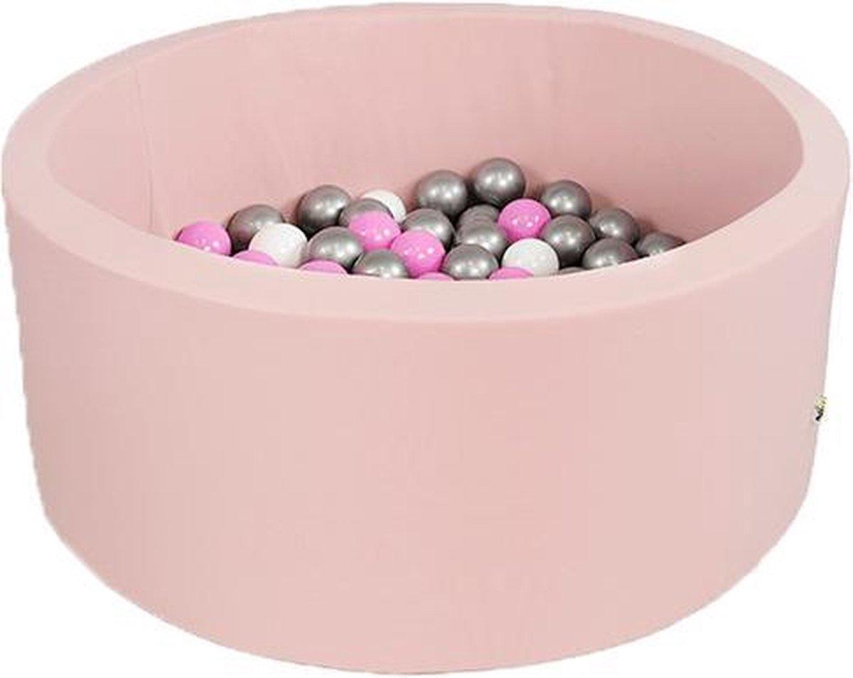 Ronde Ballenbad 100x40 Smart Roze - Ballenbak met 300 ballen - Zilver, Wit, Roze - Ballenbad baby - Ballenbak met ballen - Ballenbad Rond - Ballenbad
