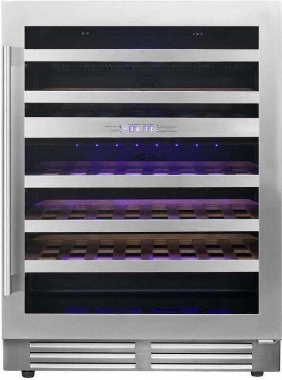 Koelkast: Le Chai LB468 - Wijnklimaatkast 2 zones - RVS - 60 cm breed - 46 Flessen, van het merk Merkloos
