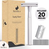 Naera Safety Razor - Inclusief 20 Double-Edge RVS Scheermesjes - Zero Waste Lifestyle - Silver
