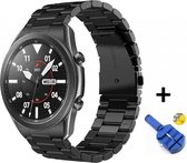 Luxe Metalen Armband Voor Samsung Galaxy Watch3 45mm Horloge Bandje - Schakel Polsband Strap RVS - Met Horlogeband Inkortset - Stainless Steel Watch Band - One-Size - Zwart