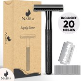 Naera Safety Razor - Inclusief 20 Double-Edge RVS Scheermesjes - Zero Waste Lifestyle - Zwart