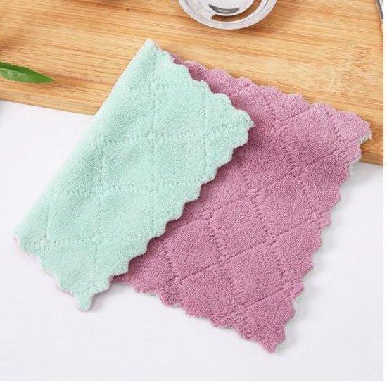 Vaatdoeken - 2 stuks - Vaatdoek - Vaatdoekjes - huishoudelijke schoonmaakmiddelen - Keuken gadgets - Keuken accessoires - Schoonmaken - Zacht materiaal - Groen - Paars - Meerdere kleuren - Doeken - Herbruikbaar - Microvezel - Kleurig - Theedoek