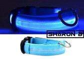 Blauwe LED halsband Maat XL | honden halsband met verlichting | Licht in donker | 3 standen | LED hondenhalsband | LED hondenhalsband | LED hondenriem | LED hondenriem | Led hondentuigje | Led hondentuigje | Houdt uw hond veilig in het donker