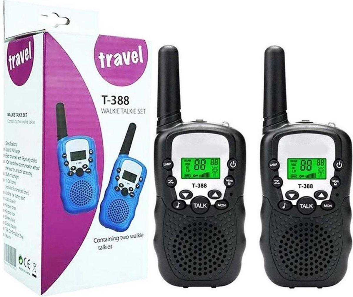Lilium Media T-388 zwart - Walkie Talkie voor kinderen en volwassenen - portofoon - 3 KM bereik