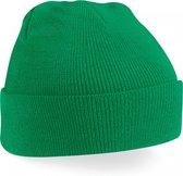 skimuts kelly green   klassieke gebreide muts in 30 verschillende kleuren  tweelaags gebreid