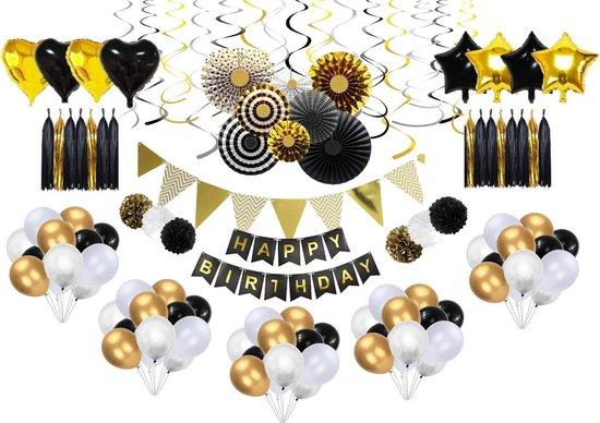 Perow XXL Ballonnen pakket - Goud, Zwart & Zilveren Ballonnen Set - Verjaardagsfeest - Luxe complete set - Ballonnen - Happy Birthday